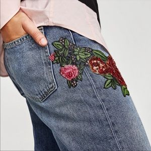 NWT Zara Embroidered straight relaxed fit jeans